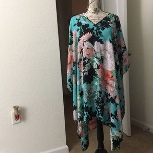 Floral V-Neck Tunic CoverUp